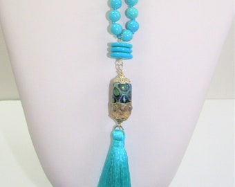 Turquoise Bead Necklace,Long Turquoise Beads,Handknot,Ceramic Bead,Teal Silk Tassel,Turquoise Disc Bead,Wrap Strand Beads,One of a Kind Bead