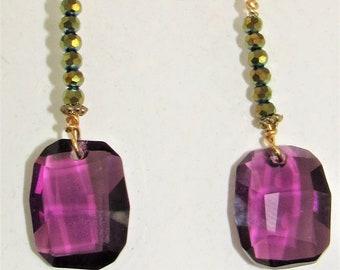 Purple Swarovski,Crystal Earrings,Green crystals,Exotic Earrings,Purple Faceted Drop,Beads,Swarovski Purple,Gold Filled Earwire,Gold Fishook
