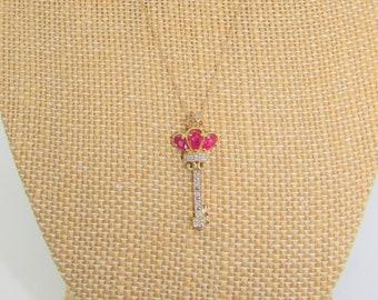 Ruby Diamond Key pendant,14K Gold Pendant and Gossamer Chain,10 diamonds,3 teardrop rubies,Perfect Condtion,Vintage Key pendant,3 Ruby key