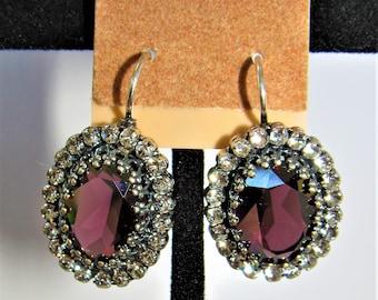 Swarovski Amethyst,Leverback earrings,Antique silver,prong set Swarovski,crystal accents,Plum purple oval stone,faceted amethyst,Bezel Mount