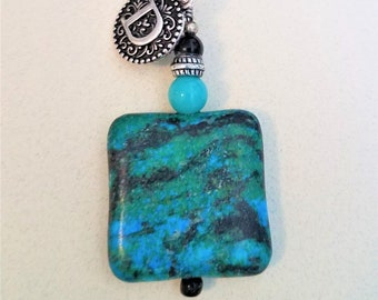 Initial Turquoise Stone Keychain,Clasp Keyring,Bead stone keychain,Turquoise Square stone,Handcrafted 1.25 inch square stone,w/initial charm