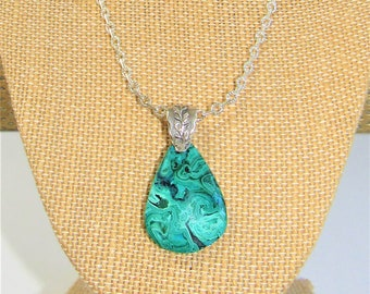 "Malachite Cabochon Teardrop Pendant Silver raised leaf Bail, 18"" cable silver plated chain, Genuine Spectacular hand cut Teardrop,Only One"