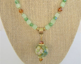 "Lamp work Crystal Floral Bead Pendant,18 ""Necklace w/ER,Handcrafted glass focal,Green frost & crystals,aurora amber,14K gold beads,lobster"