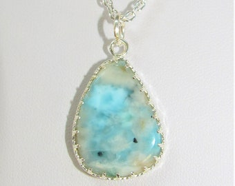 Larimar Teardrop Pendant,Blue Caribbean colors,Natural cabochon stone hand wired in Sterling Silver wrapped frame,.925 plated chain