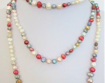 "Cultured Freshwater Pearls Endless strand 60"",Hand knotted,Colorful pearls in mixed shapes & sizes,doubled or tripled, always be on-trend."