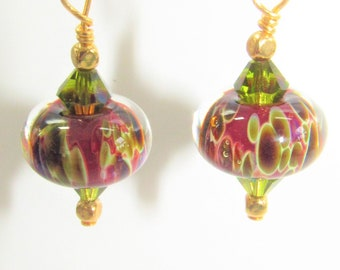 Lampwork Olive Red,Earrings,Glass Blown BeadsSwarovski  Olive Green Aurora Crystal,Brick Red Glass,14K Gold hook,Olive Green,Red Glass Ball