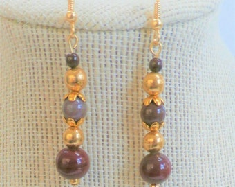 Jasper and Gold Bead Earrings, Taj Mahal Blood-stone, Jasper Bloodstone,Cranberry porcelain, 14k Gold beads