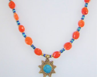 Carnelian Bead,Turquoise Lapis,Bead Necklace,Brass Sun Charm,Turquoise Pendant,Lapis Lazuli,Turquoise heishi,Brass  spacer,Turquoise Inlaid