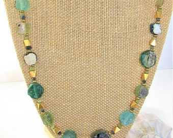 Roman Glass coin,Glass Bead Necklace,Roman bead jewelry,ancient Roman,Roman Necklace,Brass bead,Glass Spacer,Ancient Glass coin,Ancient Coin
