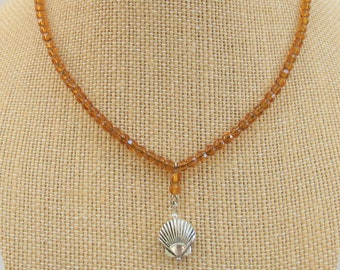 Amber Gold Color Choker, Necklace Crystal Bead  Sparkling 16 inch,w/ 1.5 inch bead drop and silver 2 sided Shell Charm,Silver Lobster Clasp