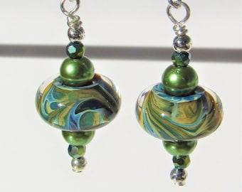 Lampwork blue earrings,Lampwork Glass swirl,Blue Green swirl glass,silver handwired earwire,Green pearl,green blue crystal,Lampwork donuts