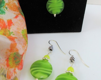 Lime Green Lamp work Glass earring and pendant set, Swirl frosted bead,w/sterling earring wires, beads and chain, 20 mm handmade glass beads