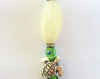 """Sea Glass pendant,Stack of sea-glass,pearl,925 silver turtle,gold wire, crystal bead,antique silver bail-white quartz,w/18"""" silver chain"""