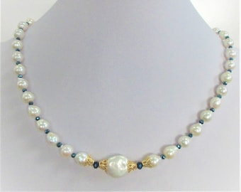 Baroque Pearl Blue Crystal Necklace, 40 8mm Baroque & 1 Coin Genuine Pearl Choker,40 faceted blue crystals,14K Gold filigree,screw closure