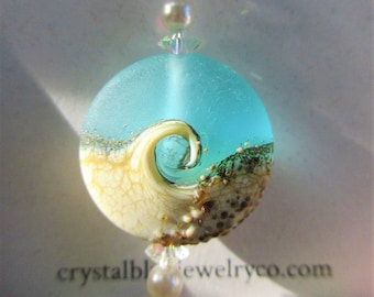 "Beach Wave Pendant,Large Teal Frost  Glass,Sandy Beach Wave,2 Pearls,2 Vintage Faceted Crystal,Choice of 18""/20"" Sterling Chain,or No Chain"