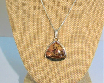 Jasper Silver pendant,Beveled Triangle Pendant,Jasper signed pendant,Polished Jasper Necklace,Silver BevelJasper,Jasper Pendant with chain