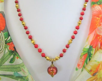 3 Piece Set- Red River Stone,Floral Lampwork bead,Gold Metallic bead,Necklace w/Glass Pendant,Bracelet Crystal Magnet Ball,Earring Gold Prcd