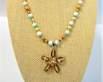 Crystal Glass Starfish w/3D Crystals,Silver Backing,White Stone Beads,Mixed Beach Pearls, Stones, Sea-glass, and Metal Beads,One of a Kind