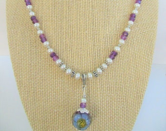 37 Gemstone Amethyst,50 Pearl Necklace,18 inch,Hand Faceted stones,w/Purple/Yellow Lampwork glass flower Bead,Sterling .925 spacer/lobster