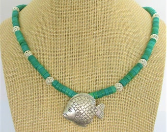 """Turquoise Heishi & Silver Fish Necklace,Choice of Bright Cage or Antique Rope Beads,Choice of Length 18"""" 20"""" 22"""",One side Solid Silver Fish"""