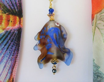 Blue Hand Blown Glass Fish Pendant, Kicky & Kooky,Fun for summer fashion,Gold filigree Blue Crystals, long gold chain, 1 of a Kind, 2 sided