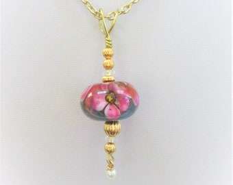 Floral Lamp Work Bead Pendant,Gray Yellow Pink White Clear Glass Blown 20 mm Bead, Gold Plated Corrugated Beads,Wire bail,& chain and pearl