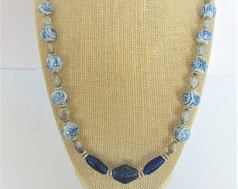 Chinese Longevity Vintage Bead Necklace, freshened rewired w/3 blue glass beads, and silver spacers, & fun fish clasp Porcelain hand painted