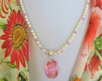 Pink Swarovski Crystal White Pearl necklace,Genuine textured pearls,w/modern pink focal & crystal beads, strong .925 magnet ,10mm loop bead