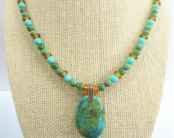 Turquoise pendant on Czech bead necklace,19 inches full wired gold blue stones, gold lobster, brass pinch bail,all new beads,wear both sides