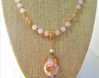 "Lamp work Pink Floral Bead Rose Quartz Necklace, 21 in"" Necklace,Rose Quartz matching PC earrings,Pink crystals 14K gold bead, lobster clasp"