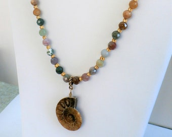"Ammonite Fossil Necklace & Earring Set, 20""genuine faceted color agate beads,14K Gold glass beads, genuine 2"" Ammonite ,Quality workmanship"