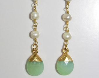 Seafoam Green Chalcedony,Earrings,Faceted teardrops,Pearl Chain,Chalcedony earrings,Gold leaf,Gold leaf,Seafoam green earrings,chalcedony