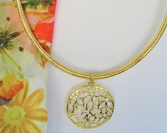 Gold Omega Necklace w/ large Gold Daisy Flower laser disc pendant, 7 inlaid crystals,quality flexible snake gold Omega magnetic stopper.