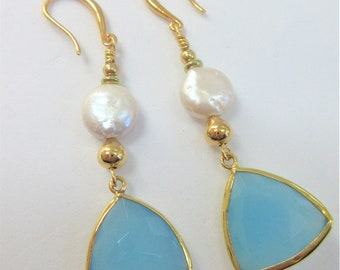14K Chalcedony Pearl earrings,Faceted Triangle Coin pearls,14K gold beads & choice of ear wire,posts,lever backs,fish hooks,Hand-wire dangle