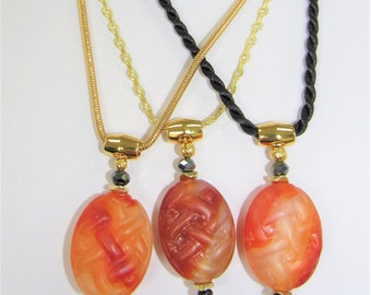 Carved Carnelian Pendant,Basket Weave Carving,Carnelian Gemstones Necklace,Large Carnelian Bead,Chunky Carnelian,Solid Carnelian Jewelry