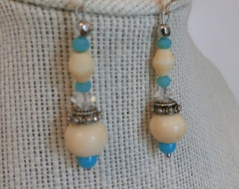 Vintage Earrings Beaded Bone,- Ball earrings with turquoise,crystal,colored glass,silver beads, silver ear wires, - one of a kind