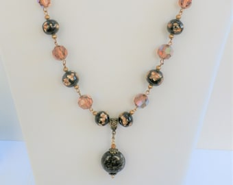 Necklace,Lamp-work Bead Glass necklace,Black/Gold, Vintage amber beads, All beads glass, gold chain/clasp