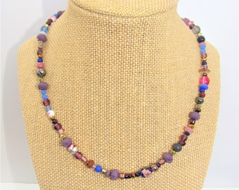 Purple Bead Choker,Friendship Necklace,Glass Stone purple beads,Assorted Purple Bead,Unisex Choker,Beach beads,Purple Gold beads,BoHo beads
