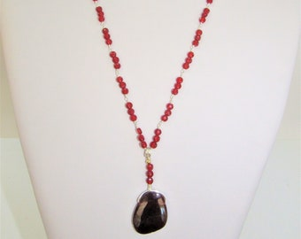 Carnelian Chain Necklace,Faceted Carnelian beads,Garnet slab Pendant,Carnelian Garnet Necklace,Polished Garnet stone,Carnelian Silver Chain