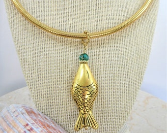 Gold Omega Necklace w/ Large 2 sided hollow metal goldfish,wired w/turquoise, gold beads,quality flexible snake gold Omega magnetic stopper.