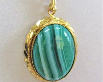 Malachite Cabachon,Large Malachite Pendant,14K Gold Frame,14KGPlate Chain,Natural Gemstone,Highly Polished, Gemstone Cabochon,Green Pendant