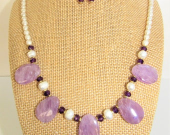 Amethyst Pearl Jewelry Set,Necklace Earring Set,Cape Amethyst Gemstone,Cultured pearl,Faceted Amethyst beads,14KGold Gemstone Bridal Jewelry