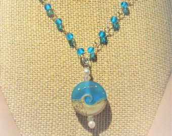 "Beach Wave Pendant,Large Royal Blue Beach Wave w/Sand Silver dots,Genuine Pearls,2 AB Crystals, 26"" long blue glass ""Rosary"" Sterling Chain"