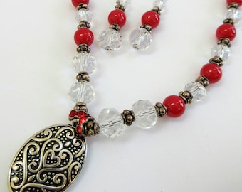 Red Bead 16 inch necklace earring set,red glass balls,clear cut crystal beads,silver accent spacers, 2 sided oval pend.lobster w 4 inch ext