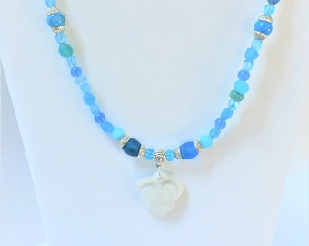 "Glass Bead Necklace, Pebble Beach 21"",blue sea-glass,cut crystal bead,Czech blue glass,silver fish clasp,heart quartz,carved stone pendant,"