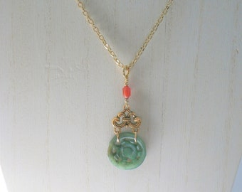Jade Coin Necklace, Antique carved Asian Jade coin wired, antique carved carnelian bead, gold plated wire,beads and chain, lobster closure