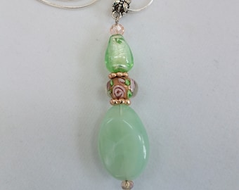 "Mint Green bead Pendant, Mint green quartz,Czech glass beads Pendant, with silver bail, and 18"" silver chain. Vintage looking, one of a kind"