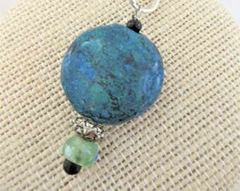 """Turquoise Stone Keychain,Clasp Keyring,Beaded stone keychain,Turquoise round stone bead,Handcrafted 1"""" round stone keyring, Car keyring Gift"""