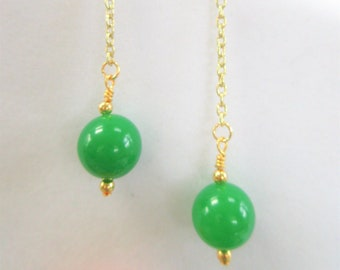 Genuine 15mm Jade dyed Quartz bead, 14K Gold fine chain, ball beads, and ear-wire ,pierced SWING earrings, choice of Fishhook, or Thick hook