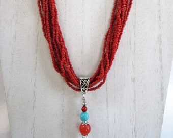 10 strand Coral red seed beads necklaces, with hand wired pendant 11mm Genuine Carnelian, turquoise,coral,sterling bead,silver filigree bail